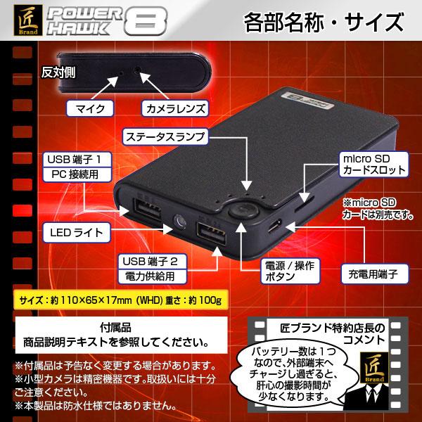 モバイルバッテリー型ビデオカメラ、各種部位・説明