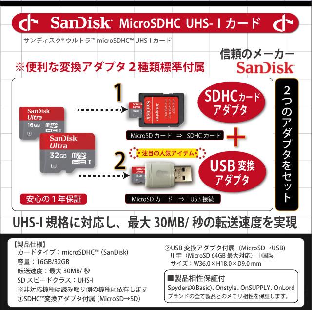 便利なアダプタ2種類付属。UHS-I規格対応、最大30MB/秒の転送速度実現!